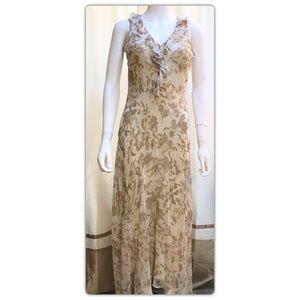 WHBM Cream Floral Midi Silk Dress